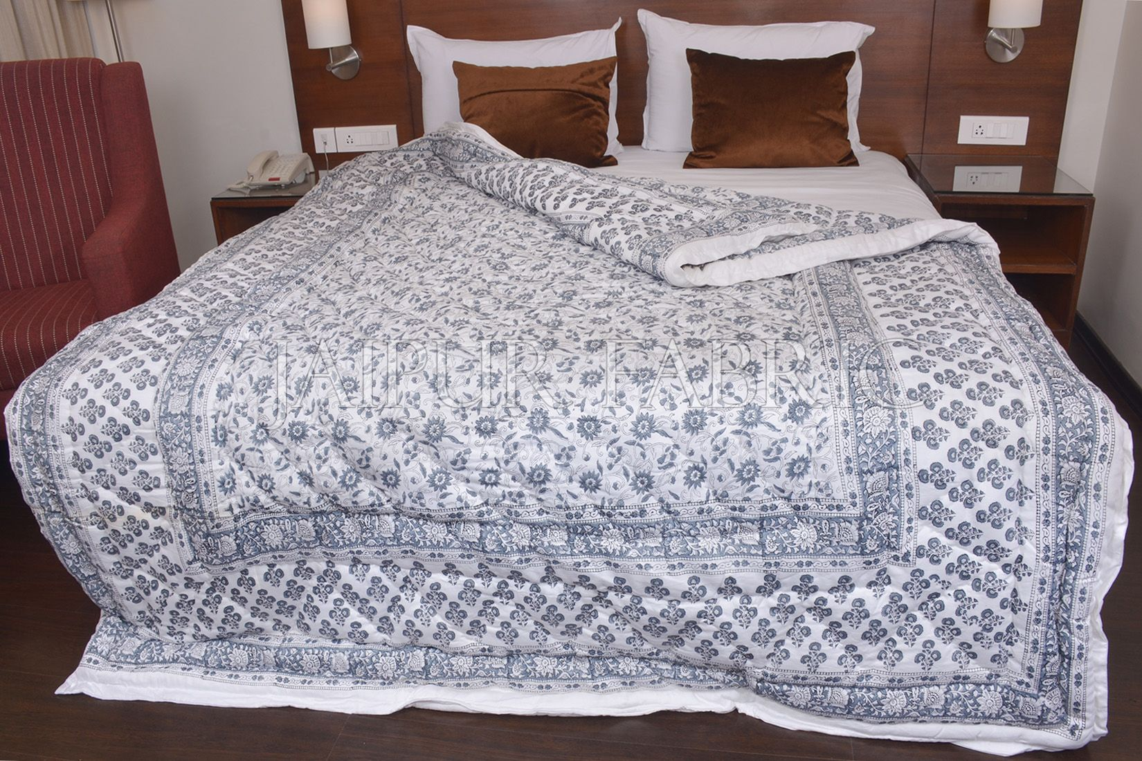 White Base Gray Floral Print Cotton Double Bed Quilt