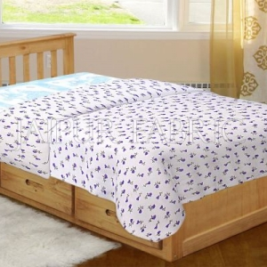 White Base Purple Floral Print Single Bed Dohar
