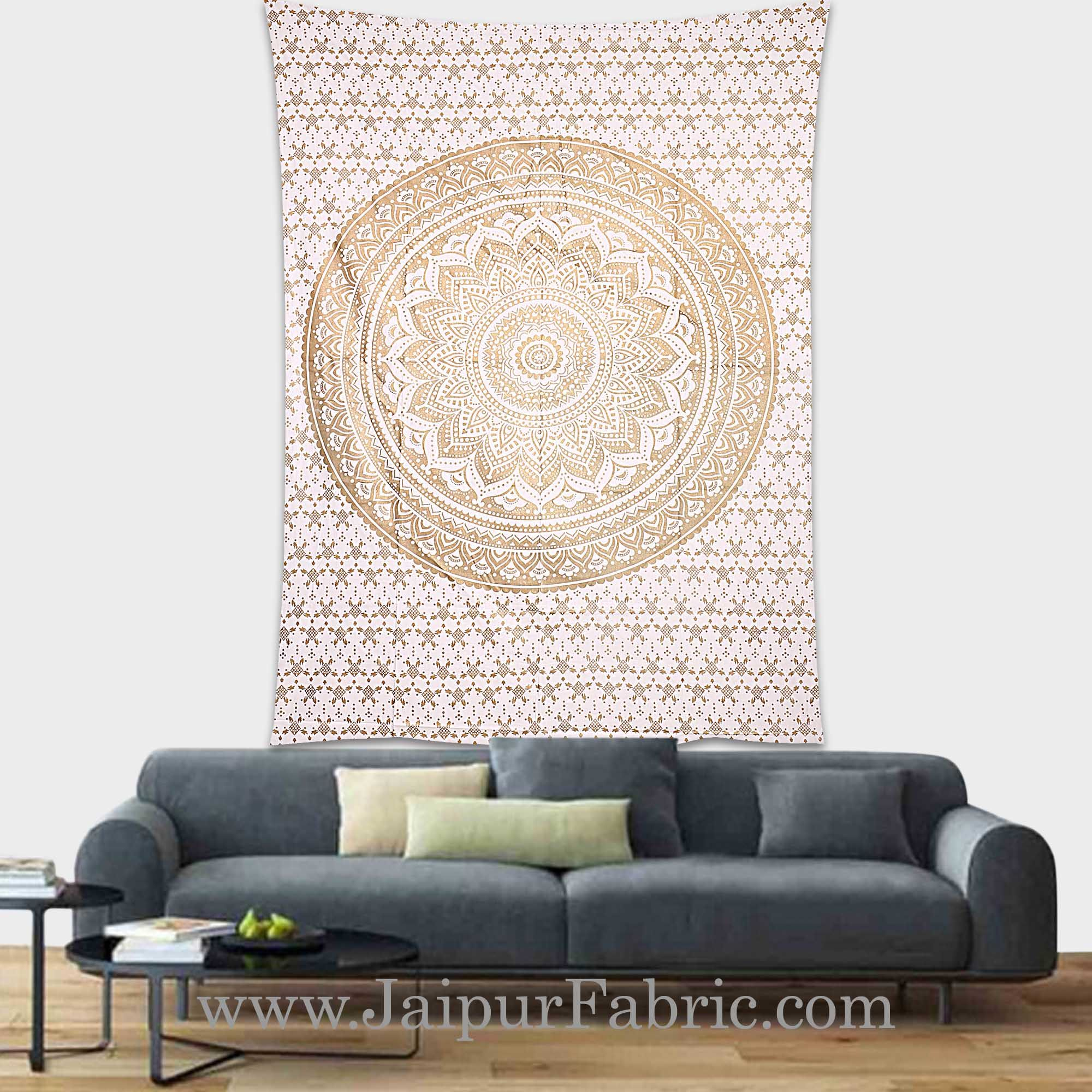 Gold Tapestry Ombre Mandala Wall Hanging Metallic Shine Bohemian Bedspread and beach throw 90x60