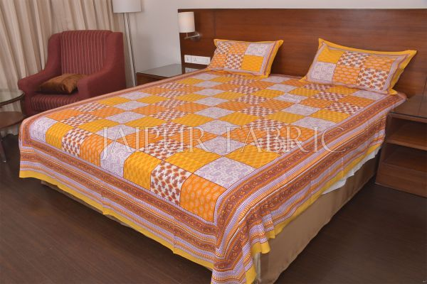 Yellow Tropical Print Double Bed Sheet