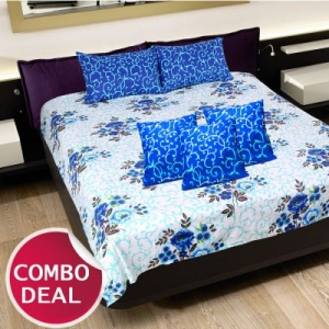 COMBO15 - Set Of Double Bed Sheet and 3 Cushion Covers
