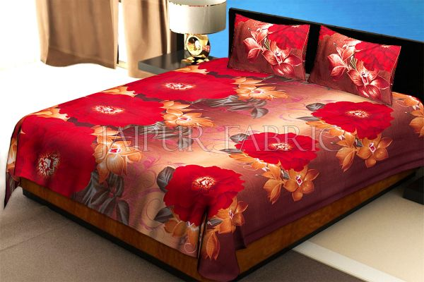 Multi Color Floral Print Cotton Double Bed Sheet