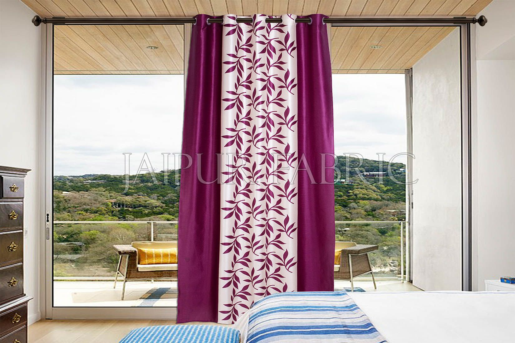 Purple leaf Printed Polyester Curtain