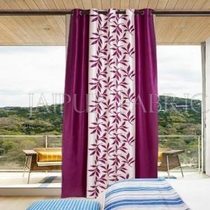 Purple leaf Printed Polyester Curtain