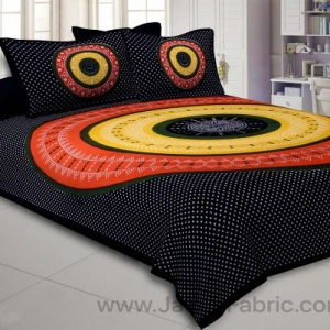 Double Bedsheet Black Red  With Round Shape Bandhej Print