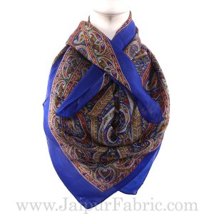 Silk Scarf Blue Handmade Print