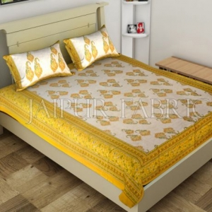Yellow Border Boteh Printed Cotton Single Bed Sheet
