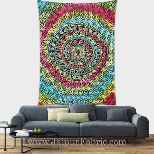 Multicolor Tie and Die Tapestry wall hanging and beach throw 90x60