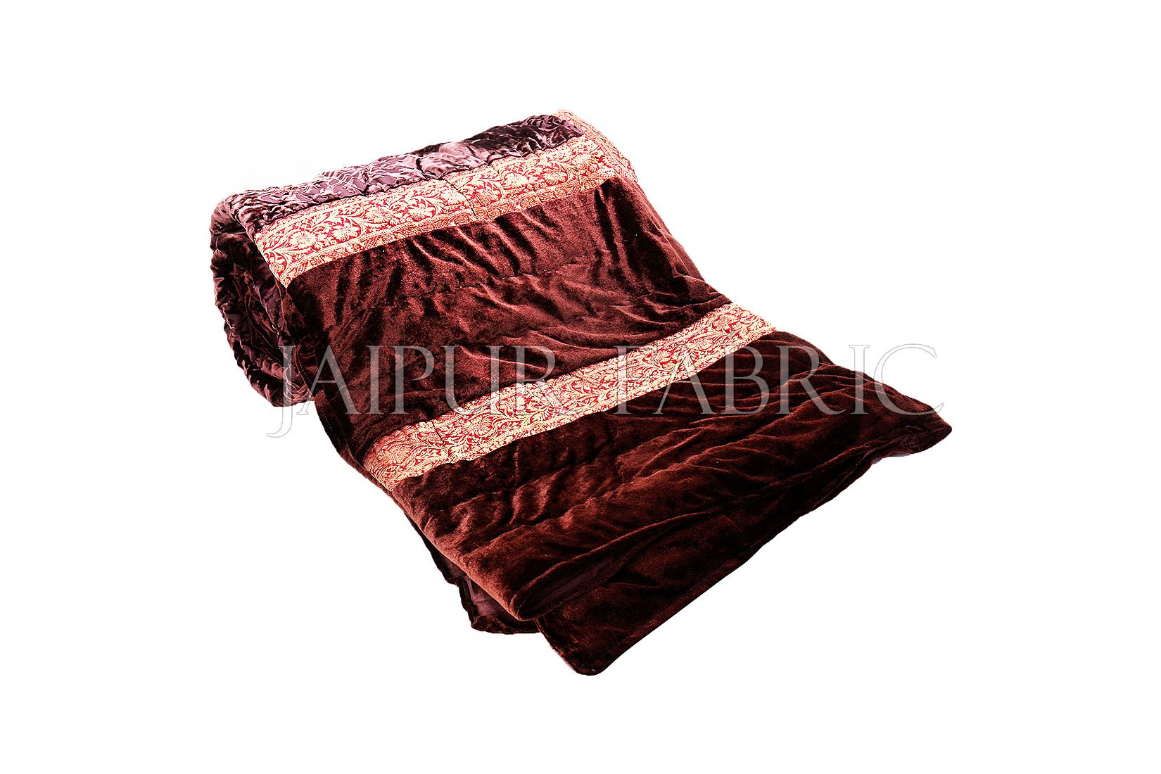 Brown Velvet Double Bed Quilt