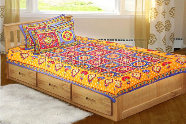 Blue Royal Jaipuri Print Cotton Single Bed Sheet