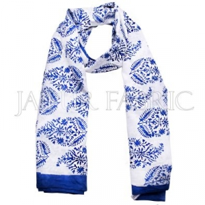 Blue Border Handmade Block Print Cotton Scarf