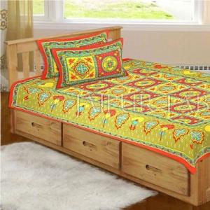 Orange Royal Jaipuri Print Cotton Single Bed Sheet