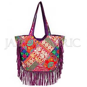 Purple Zari Embroidered With Velvet Fringes Hand Bag