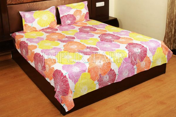 Yellow and Pink Floral Designer Cotton Double Bed Sheet