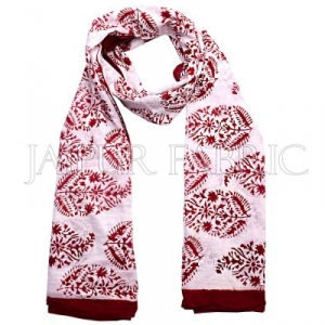 Red Border Handmade Block Print Cotton Scarf