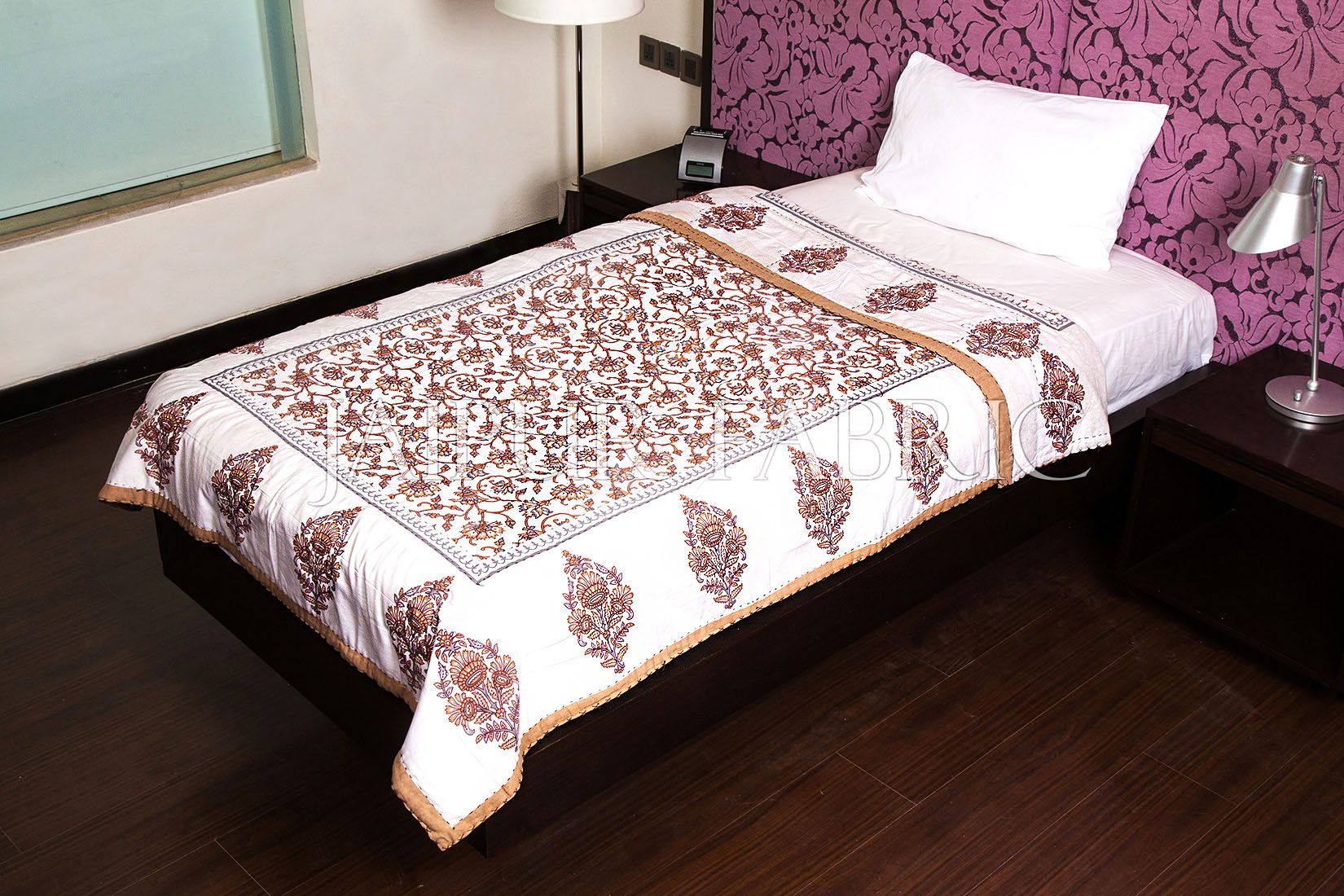 Beige Jaipuri Print Cotton AC Quilt Single Bed Quilt
