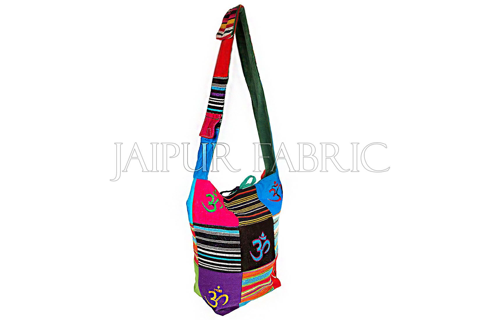 Durry Fabric Patchwork With Om Embroidered Sling Bag