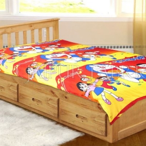 Yellow and Red Base Doraemon Single Bed Dohar
