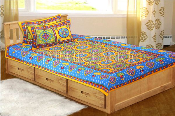 Yellow Royal Jaipuri Print Cotton Single Bed Sheet