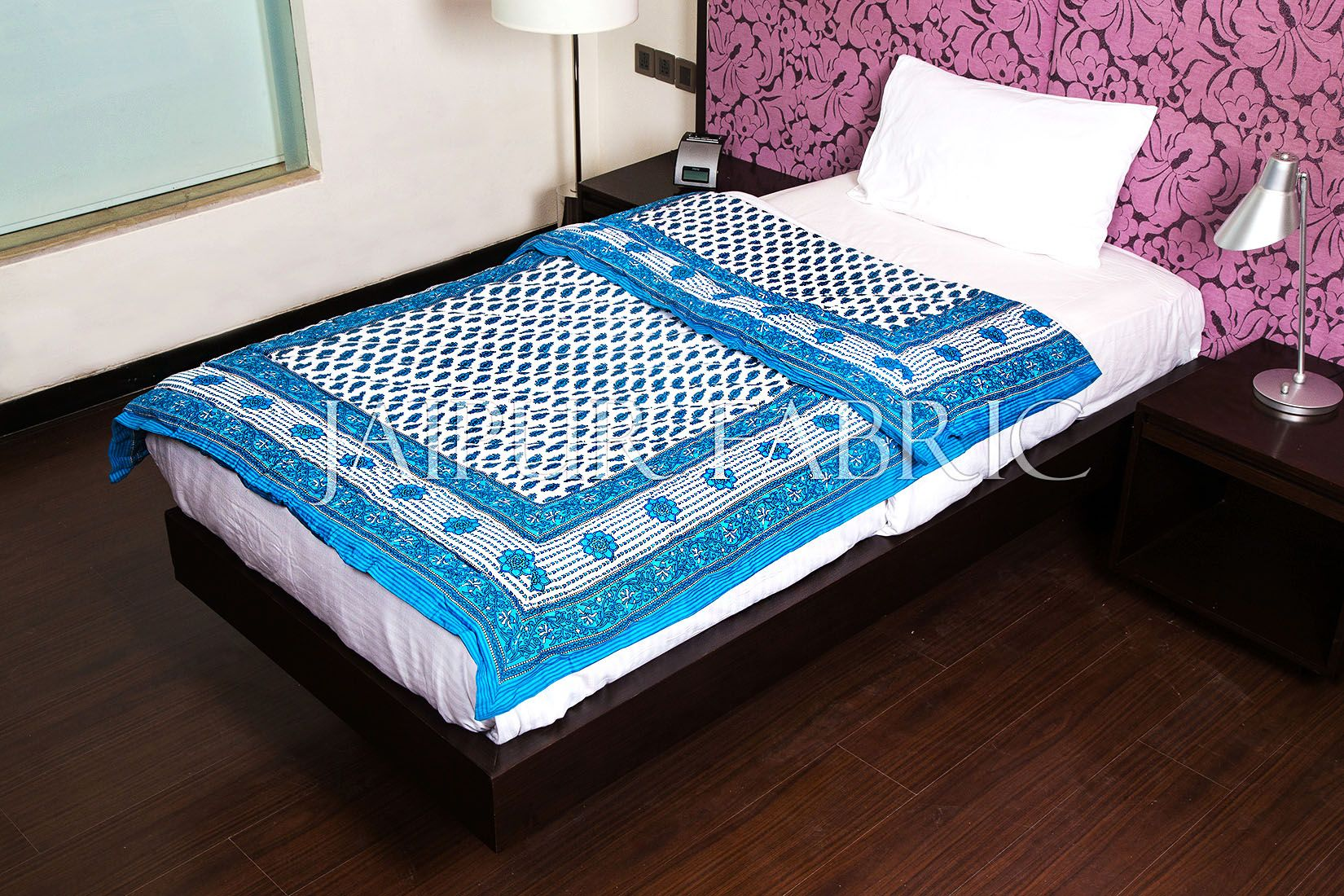 Cyan Leaf Print Cotton Handmade Single Bed Jaipuri Quilt