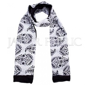 Black Border Handmade Block Print Cotton Scarf