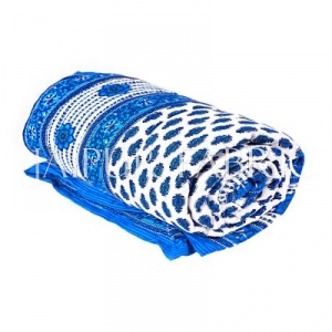 Blue Leaf Print Cotton Handmade Single Bed Jaipuri Quilt