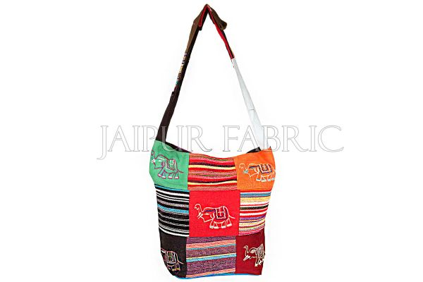 Durry fabric patchwork with elephant embroidered sling bag