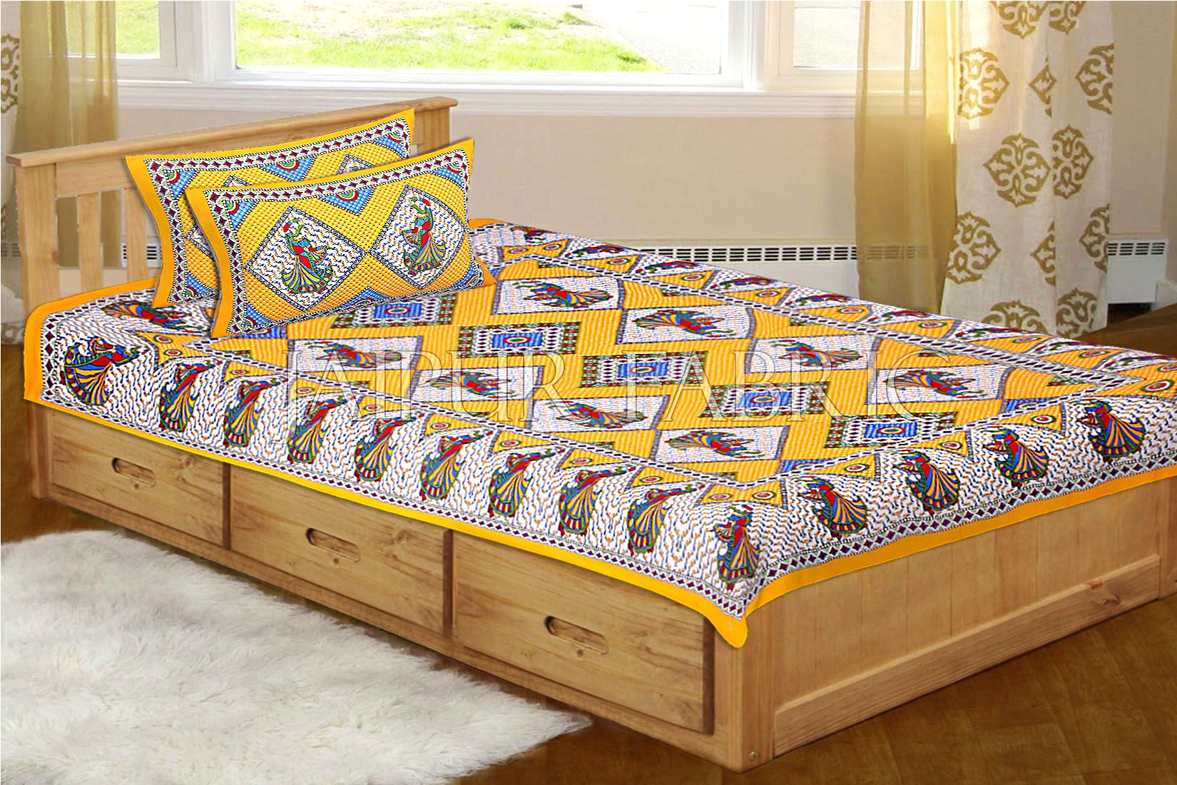 Yellow base jaipur Folk dance Design Single Bed Sheet