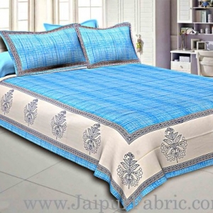 Sky Blue Border With Cream And Blue  Base  Cotton Satin Hand Block Double Bedsheet