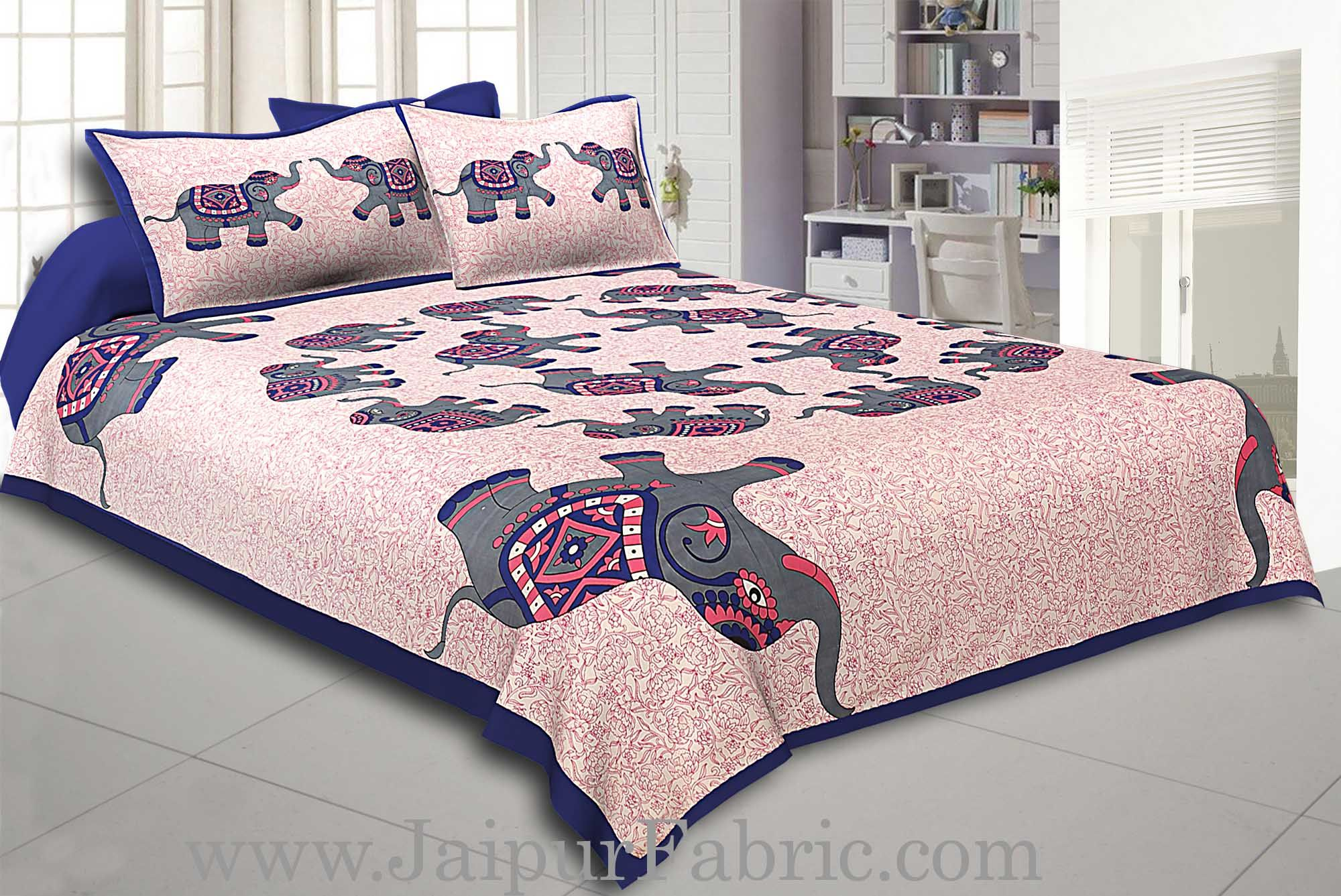 Blue Border Elephant in Round Shape Cotton Double Bedsheet