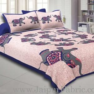 Blue Border Elephant in Round Shape Cotton Double Bedsheet