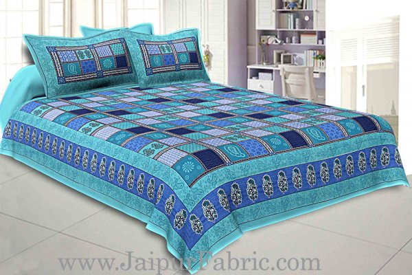 Sea Green  Border Multicolor Checkered Super fine Cotton Double Bedsheet