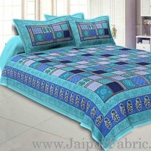 Wholesale Sea Green  Border Multicolor Checkered Super fine Cotton Double Bedsheet