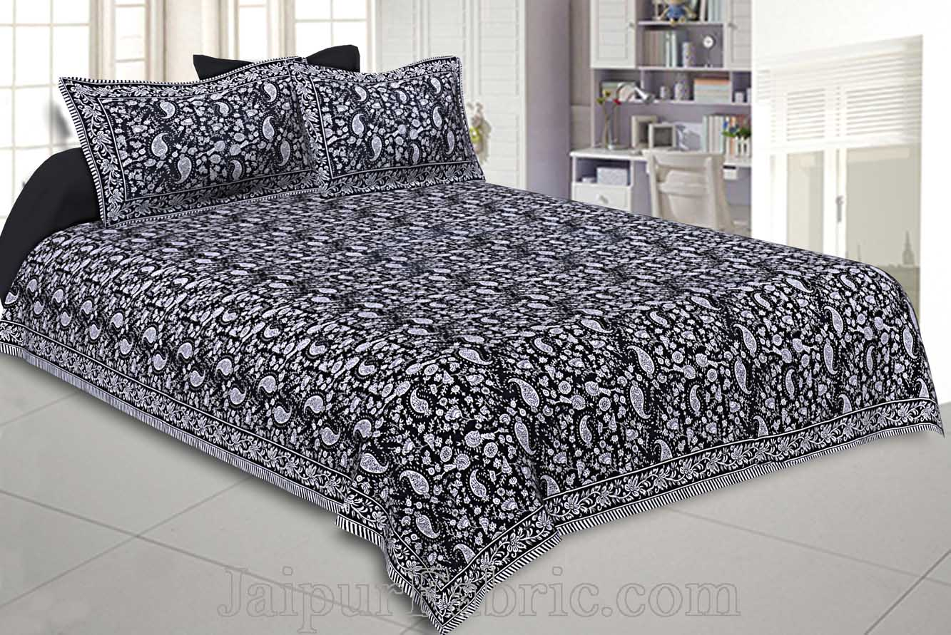 Double Bedsheet Coal Black Floral Pattern