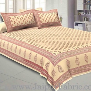 Double Bedsheet Cream Base Fine Cotton Leaf Print With Two Pillow Cover