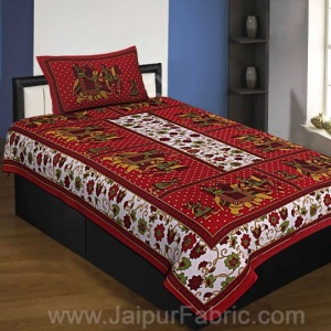 Maroon Border White Base Barat Pattern Screen Print Cotton Single Bed Sheet