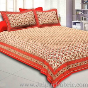Red Border Multi floral With Golden Print Super Fine Cotton Double Bed Sheet