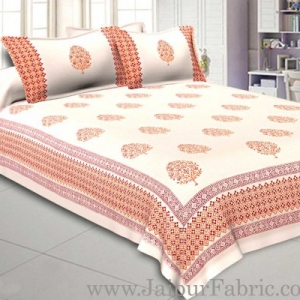 Double Bed Sheet White Base With Kadi Print Purple Buta Hand Block Print Super Fine  Cotton