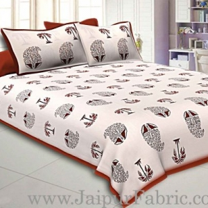 Double Bedsheet  Coffe Border  Fine Cotton  Block Print
