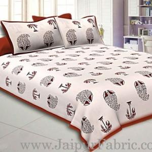 Double Bedsheet  Coffe Border  Fine Cotton  Block Print