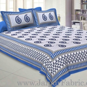 Double bedsheet Firozi Border With Paisley Print Fine Cotton With Two Pillow Cover