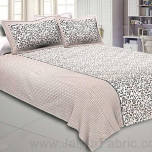 Double Bedsheet Greyish Brown Floral Motif  Print