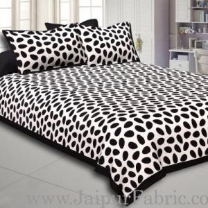 Black Border White Base Cow Print Cotton Double Bed Sheet