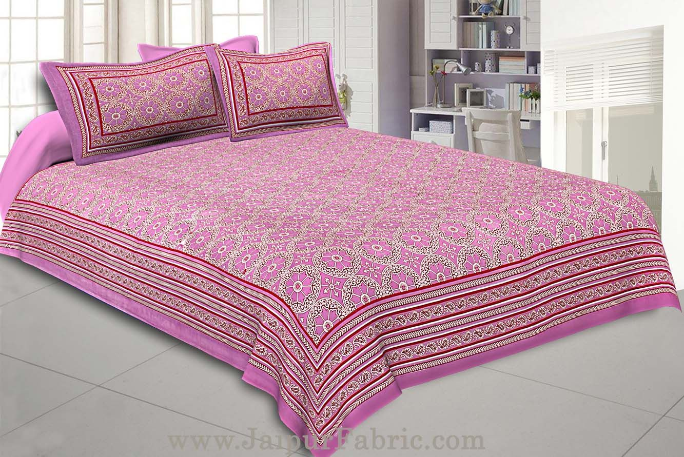 Double Bedsheet Pink Border Round Circle Cotton With 2 Pillow Covers