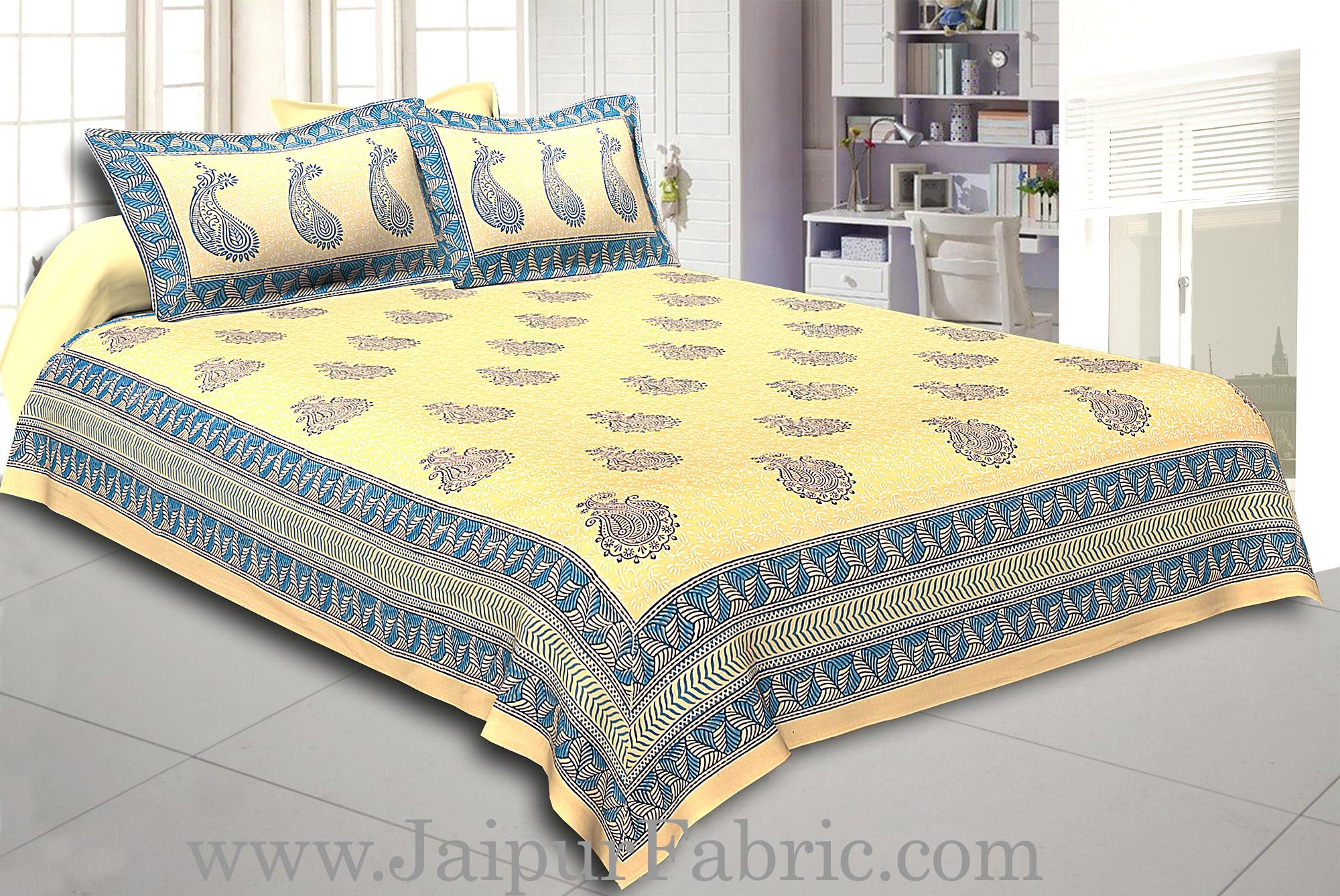Cream Base Cream  Border Big  Blue Flower With Blue Leaf Pattern Hand Block Print Super Fine Cotton Double Bed Sheet
