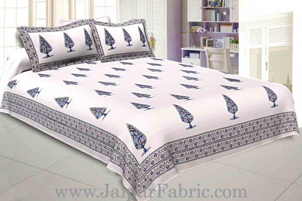 Double Bed Sheet White Base With Grey Kadi Print Multi Tree  Print Super Fine Cotton