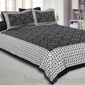 Black  Border White Base Bandhej Pattern Screen Print Cotton Double Bed Sheet