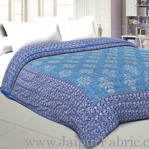 Jaipuri Printed Double Bed Razai Silver  Blue And Ice Blue White base with Jall pattern