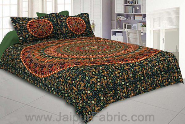 Forest Green Mandala Bedsheet Tapestry Floral Print With 2 Pillow Covers