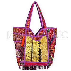 Antique Zari Embroidered Patchwork With Suede Leather Fringes Hand Bag